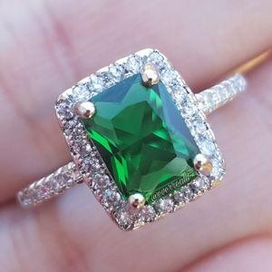 Green Emerald Rectangular Halo Silver Ring